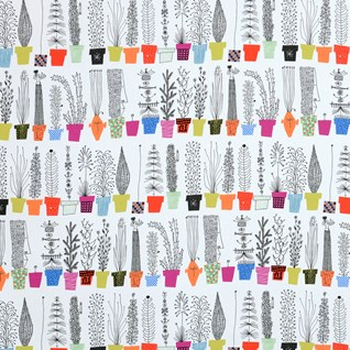 crazy pots cotton fabric printed with colourful flower pots and humorous plants