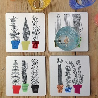 crazy pots coasters with colourful flower pots and humorous plants