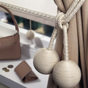 cream leather ball curtain tieback or hold-back