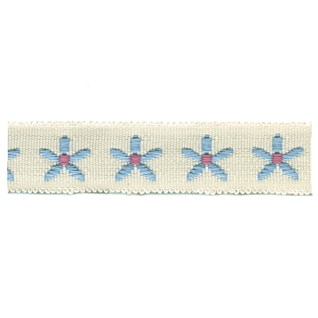 blue & white daisy chain decorative trimming braid with flower motif for interior use