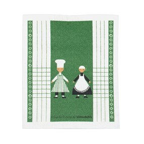 green & white washing up kitchen sponge cloth with two dancing cooks in the design