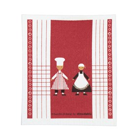 red & white washing up kitchen sponge cloth with two dancing cooks in the design