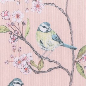 roller blind print of ditsy blue tit with cherry blossom and pink blush background