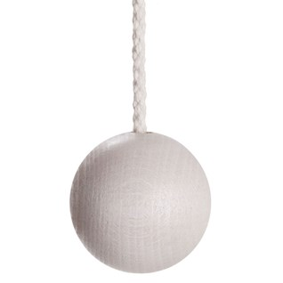 whitewashed wooden ball bathroom light pull with cotton rope cord