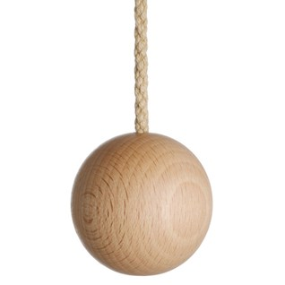 natural wooden ball bathroom light pull with matching cotton rope cord