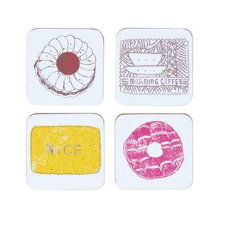 family favourites coasters with a selection of nice, bonbon, tunocks, wafer, digestive biscuits