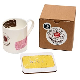 family favourites china mug & coaster gift set with tasty biscuits prints
