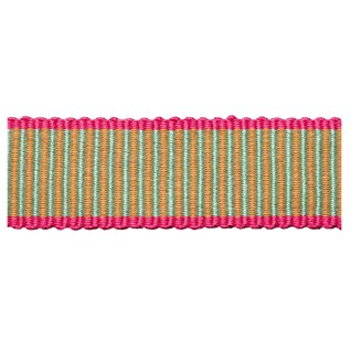 striped decorative woven trimming in sherbert lime with fuchsia pink edges, a passementerie braid