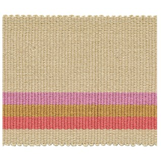 fresco wide stripe interior woven trimming braid in raspberry, pink and natural colours
