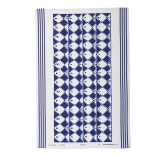 frisco kitchen tea towel of drying up cloth with dramatic blue and white fish motif