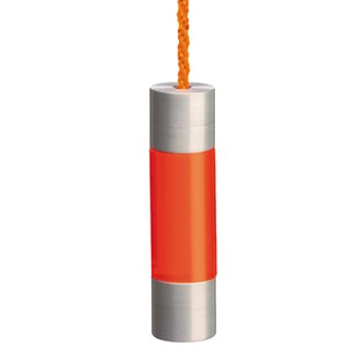 fuse bathroom light pull or toggle with acrylic neon orange colour section and aluminium caps