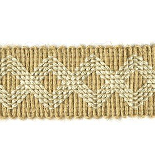 zigzag braid decorative trim with pattern stitched in natural cotton with jute background