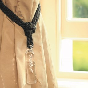 heavy crystal glass cylinder curtain tieback with black cotton rope