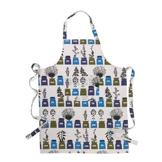 blue and green herb garden vintage cotton/linen kitchen apron by Astrid Sampe