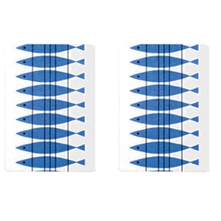blue and white hors d'oevre trays in classic swedish sill design of herring fish