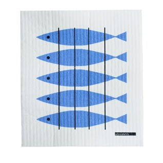 washing up sponge cloth in fresh blue and white printed in herring fish design