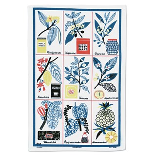 Cooks Favorites botanical tea towel in blue with naive food plant illustrations