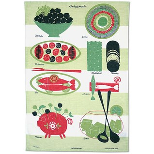 green & red lazy lunch tea towel vintage 50's design by Louise Fougstedt of a scandinavian lunch