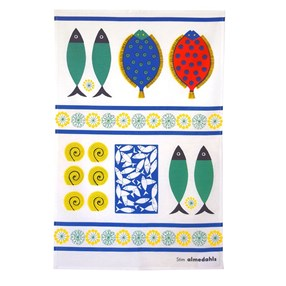 colourful kitchen linen tea towel of lovely stylised fish