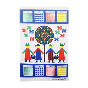 harvest festival kitchen tea towel in bright colours of naive people collecting fruit