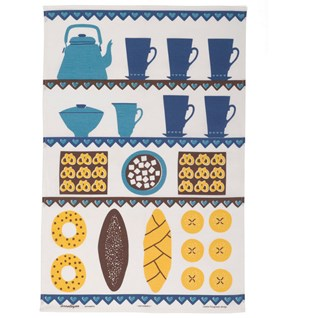 coffee & cake vintage print kitchen tea towel in blue and yellow drying up cloth