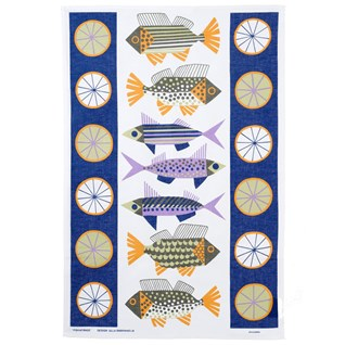 fish market kitchen tea towel featuring 1950s blue & purple fish on cotton/linen fabric