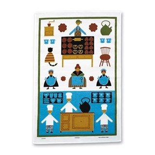 blue and white naive cotton/linen kitchen drying-up cloth tea towel of cooks baking biscuits