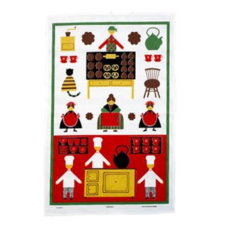 red and white naive cotton/linen kitchen drying-up cloth tea towel of cooks baking biscuits