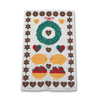 Christmas pigs tea towel