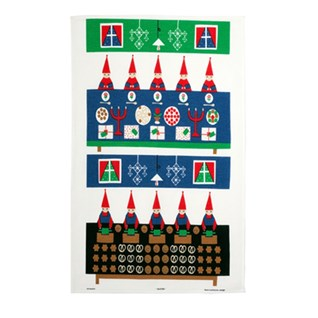 kitchen tea towel featuring swedish elves on vintage drying up cloth