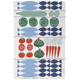blue & red fish supper swedish tea towel with fish and vegetables ready for cooking on cotton/linen