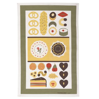 patisserie vintage swedish kitchen tea towel on cotton/linen with cakes and bread
