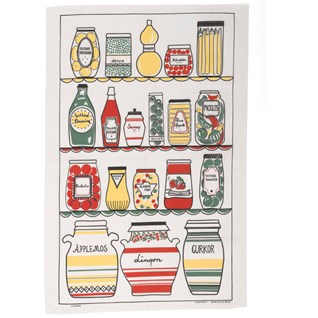swedish pantry designer tea towel with retro jars and bottles in a 1950's larder