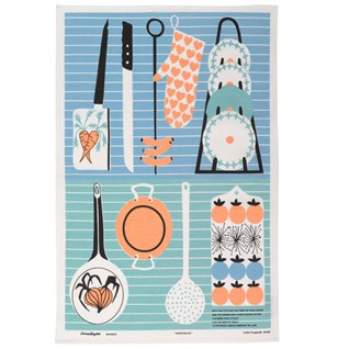 pots & pans popular swedish blue tea towel of kitchen implements