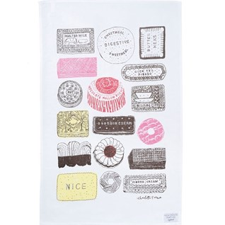 family favourites tea towel with a selection of biscuits drying up cloth