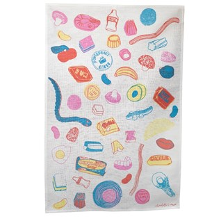 pick and mix cotton tea towel featuring illustrations of sweets by charlotte farmer