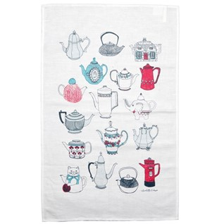 tea pot tea towel with collection of souvenir tea pots on cotton fabric