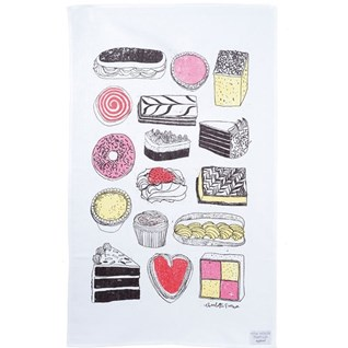 naughty but nice cake tea towel of cakes on cotton dish cloth