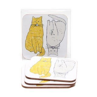 meow coasters by illustrator charlotte farmer of two humorous fat yellow and grey cats