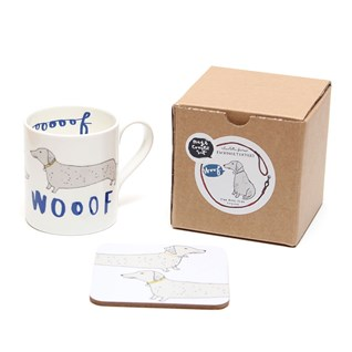 wooof mug and coaster of dachshund sausage dogs saying woof