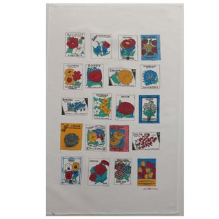flower gardener tea towel with illustrations of flower seed packets by charlotte farmer