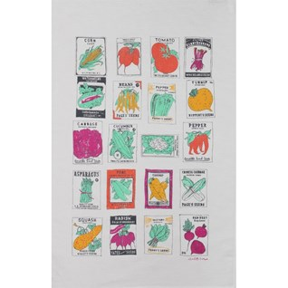 vegetable gardener kitchen tea towel with illustrations of vegetable seed packets