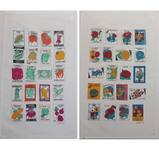 kitchen tea towel set with illustrations of vintage vegetable & flower seed packets, cotton/linen
