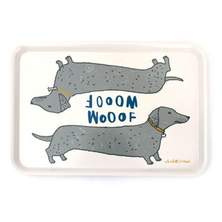 wooof large tray showing dachshund sausage dogs saying woof