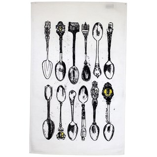 souvenir spoons tea towel by illustrator charlotte farmer, antique old spoons illustrated