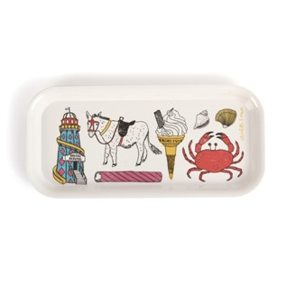 colourful seaside fun drinks tray by charlotte farmer featuring classic coastal objects