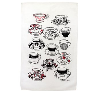 time for tea tea towel by illustrator charlotte farmer