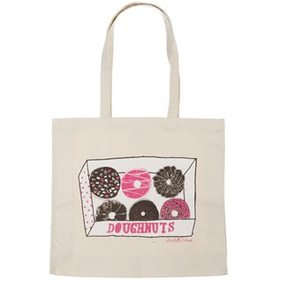 doughnut box print tote shopping canvas bag by charlotte farmer