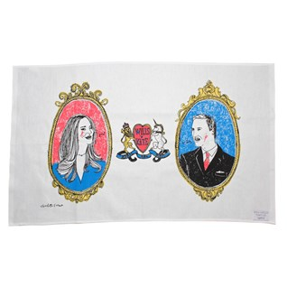 kate and wills royal family tea towel by illustrator charlotte farmer, souvenir of Britain