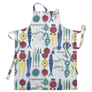 colourful kitchen apron picknick, a vintage swedish design showing salad ingredients